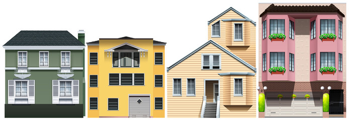Neighborhood with different styles of houses