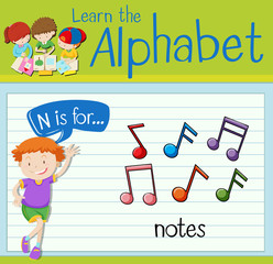 Flashcard letter N is for notes