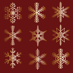 Collection shaped snowflakes on a red background