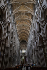 Nave and ceiling of the cathedral Notre-Dame de l'Assomption de Rouen, France