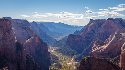 Spectacular views of the big ravine. Amazing mountain landscape. Breathtaking view of the canyon. Zion National Park, Utah, USA