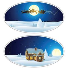Vector Illustration of Santa House, Santa Sleigh