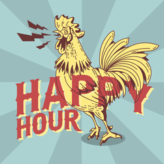 Happy Hour New Vintage Poster Design With Crowing Rooster Drawin