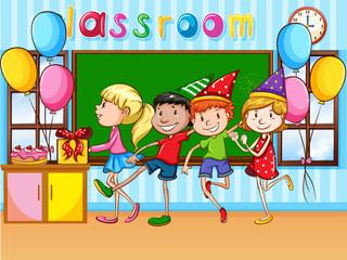 Children having party in classroom