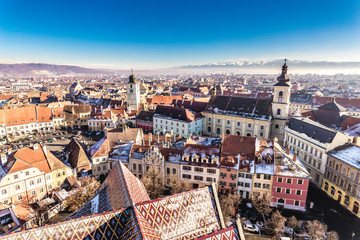 Overview of Sibiu, Transylvania, Romania. View from above. HDR Photo.