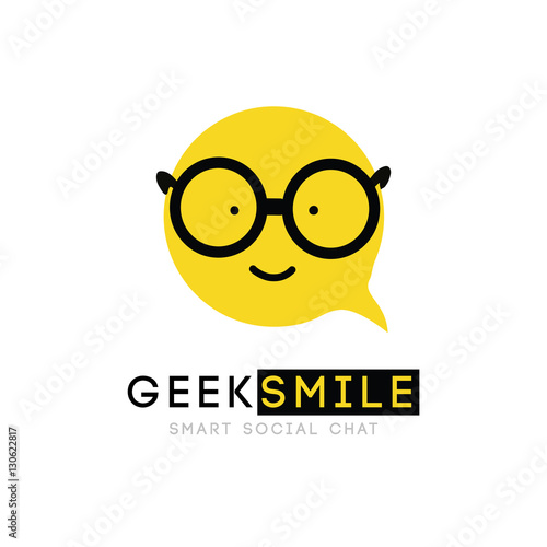 Logo Smiley With Glasses Clever Cartoon Cheerful Good Sign Bubble