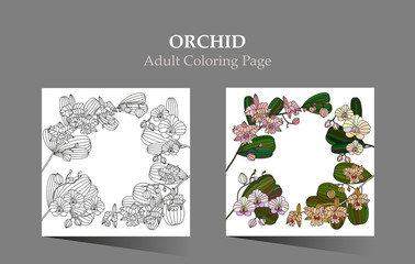 Cards with tropic flower - orchid.