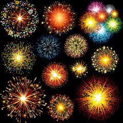 Brightly Colorful Vector Fireworks, Salute Vector