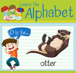 Flashcard letter O is for otter