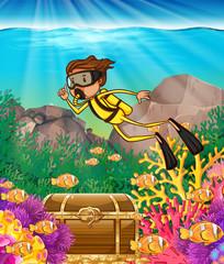 Man scuba diving under the ocean