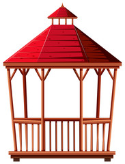 Wooden pavilion with red roof