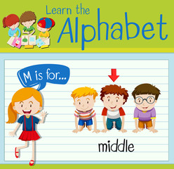 Flashcard letter M is for middle