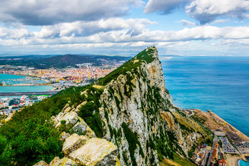 Aerial view of the upper rock on gibraltar.