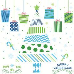 Merry Christmas and Happy New Year.Christmas Tree,Presents,Christmas Greeting Card.Christmas Invitation.Vector illustration.