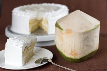 yummy fresh coconut topping milk sponge cake with low sugar