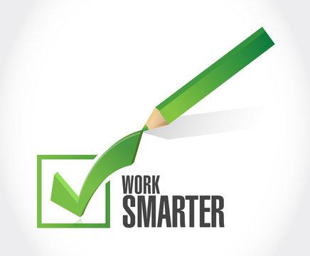 work smarter check mark sign concept