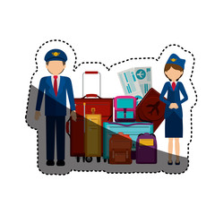 Pilot stewardess and baggage icon. Airport travel trip and tourism theme. Isolated design. Vector illustration
