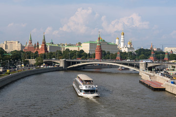 View on the Moscow Kremlin across the Moskva river, Moscow, Russia