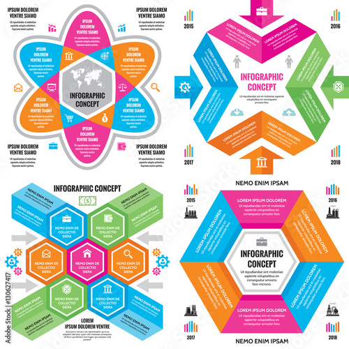 Infographic Business Concept Vector Layouts In Flat Style For