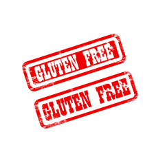GLUTEN FREE stamp sign text red.