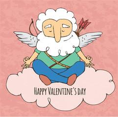 Cupid funny Yogi. Sitting in yoga posture. Valentine's day