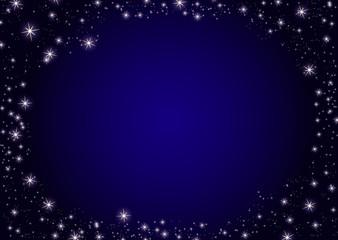 Dark blue night stars background. Illustration on vector. Frame border card template for invitations card