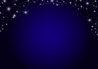 Dark blue night stars background. Illustration on vector. Top border frame border card template for invitations card