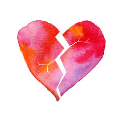 love hurt concept with artistic watercolor broken heart illustra