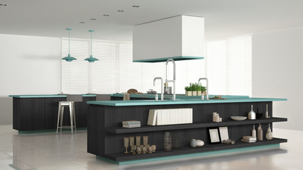Minimalistic white kitchen with wooden and turquoise details, mi