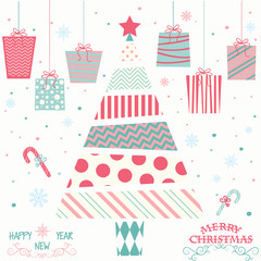 Merry Christmas and Happy New Year.Pink and Aqua Christmas Tree,Presents,Christmas Greeting Card.Christmas Invitation.Vector illustration.