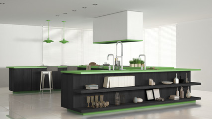 Minimalistic white kitchen with wooden and green details, minima