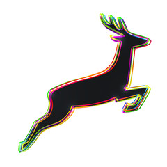 Abstract deer silhouette out of multicolor outlines - vector illustration