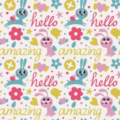 Seamless cute pattern maked with rabbit  wings, flowers, hearts