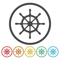 Steering wheel of the ship icon