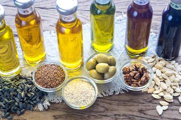 Fototapeta Bottles with different kinds of vegetable oil obraz