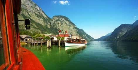 View of st Bartholoma church from the lake of Königsee, Berchtesgaden National Park, Germany