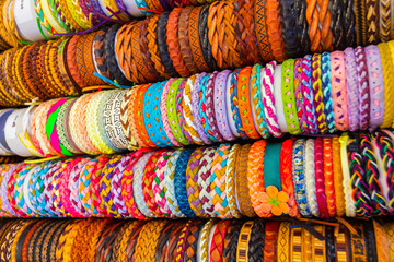leather bracelets with different shapes and colors