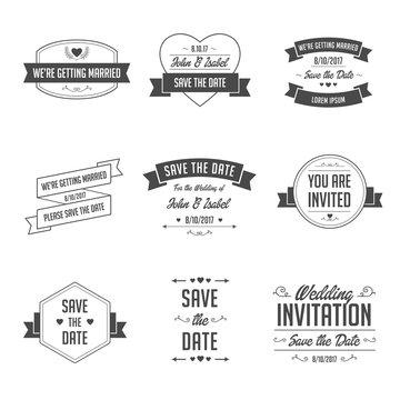 Set of Wedding Badges. Retro / Vintage Typographic Design Elements for Wedding Invitation.
