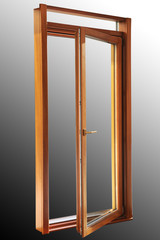High quality wooden exit door with two glasses