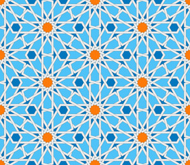 Islamic geometric seamless pattern. Turkish ornament, traditional oriental arabic art. Muslim mosaic. Colorful vector illustration. Blue and white arabian tile. Mosque decoration element Persian motif