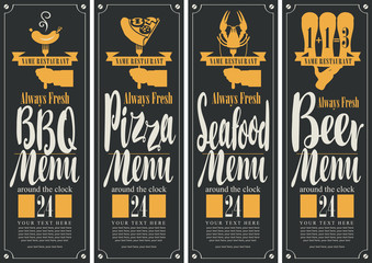banner for B-B-Q menu, pizza menu, seafood menu, beer menu