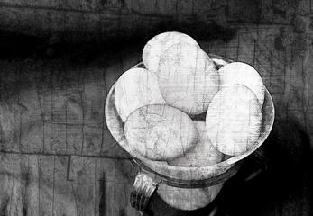 Black and white grunge eggs