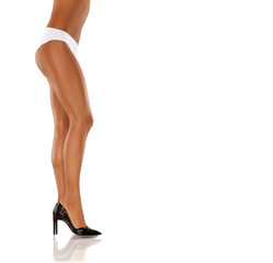 side view of elegant, beautifully shaped and cared woman's legs