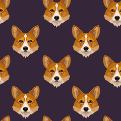 Vector dog breed welsh corgi face seamless pattern, textile design, wrapping paper