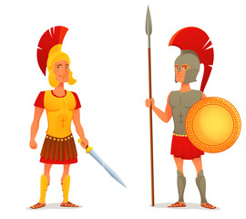 cartoon illustration of ancient Roman and Greek soldier