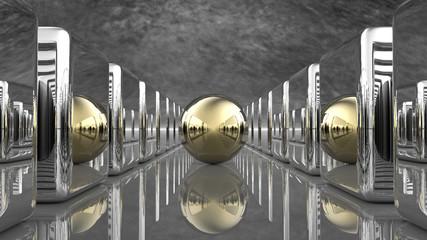 Obraz Złota kula z sześcianami - fototapety do salonu