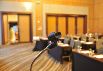 Stand of the microphone in the conference room