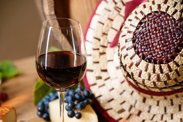 Wine, glass, grape and hat