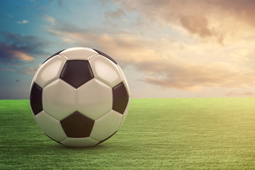 Football in sunset