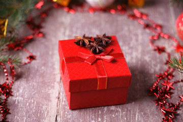 Gift box, bijouterie and fir tree branch